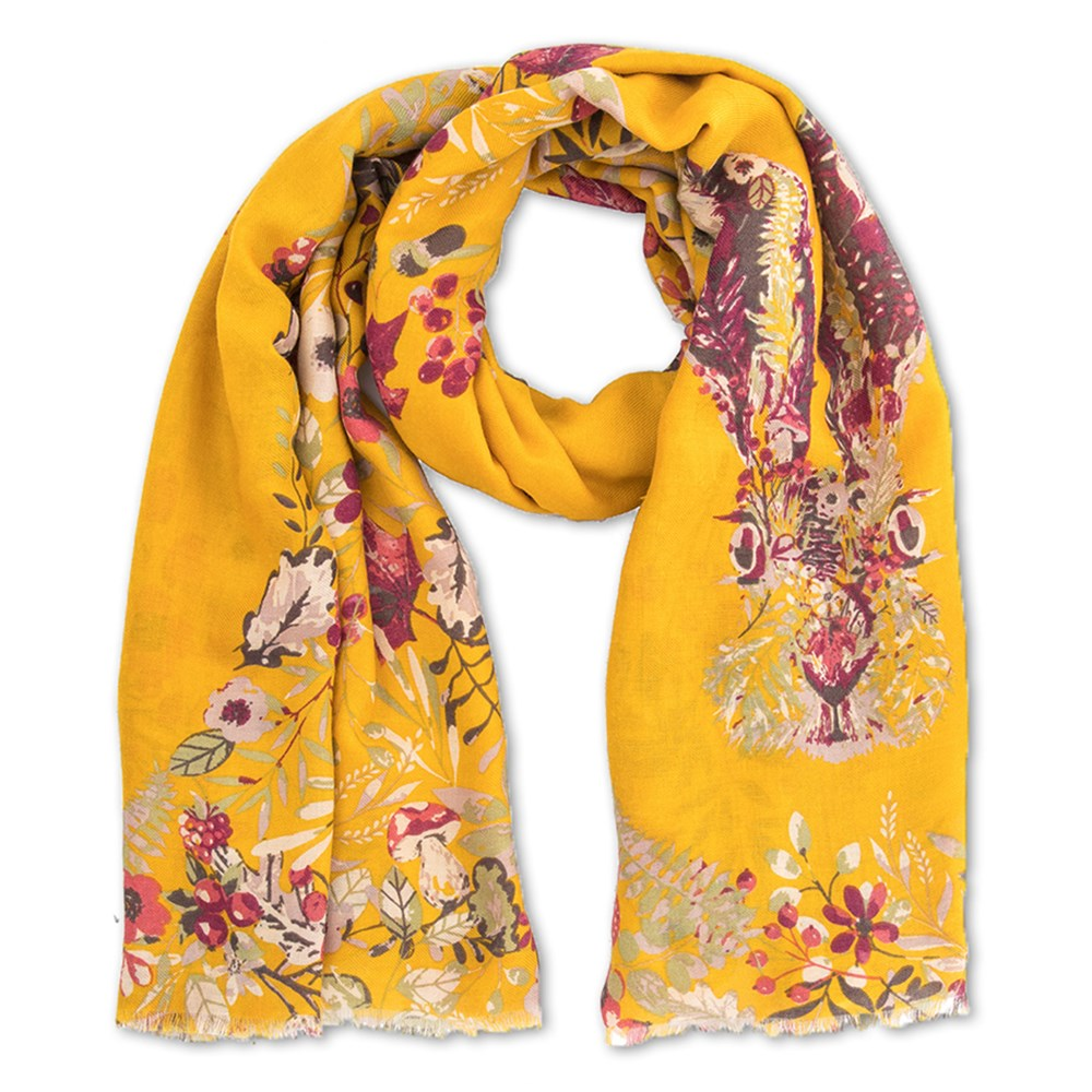 04239c6c1 Powder Forest Hare Print Scarf in Mustard Yellow