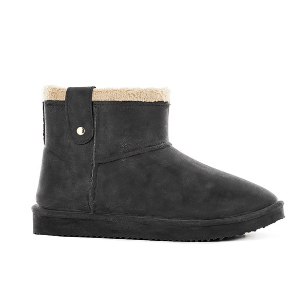 Waterproof Sheepskin Style Ladies Ankle Snug-Boot in Black