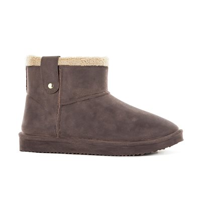 Waterproof Sheepskin Style Ladies Ankle Snug-Boot in Brown