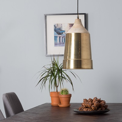 WOOD TOP PENDANT LAMP in Antique Brass