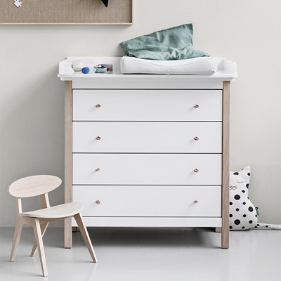 WOOD NURSERY DRESSER in White
