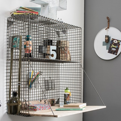 WIRE WALL UNIT with Fold Out Desk