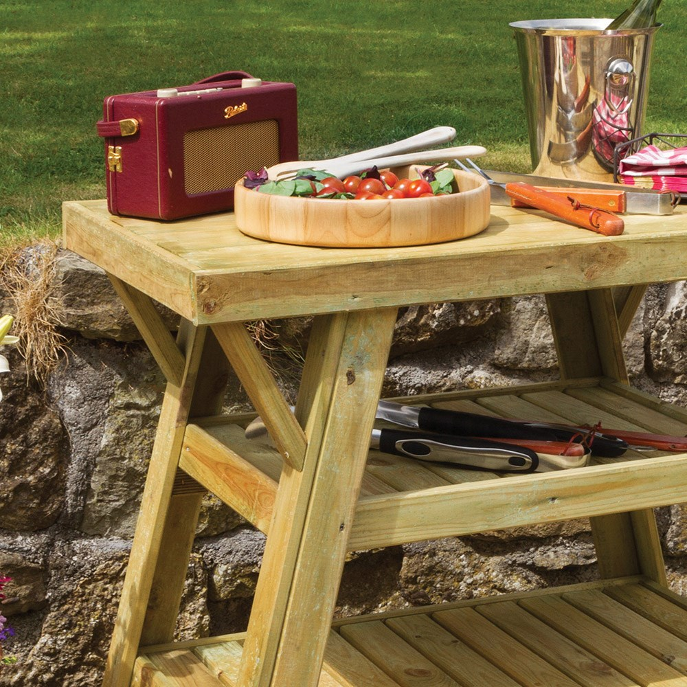 Bbq Side Table With Storage.Wooden Bbq Side Table