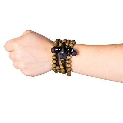WRAPS WOODEN BEAD WRISTBAND HEADPHONES WITH MICROPHONE in Walnut Brown