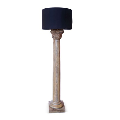 WOODEN PILLAR Floor Lamp With Black Shade