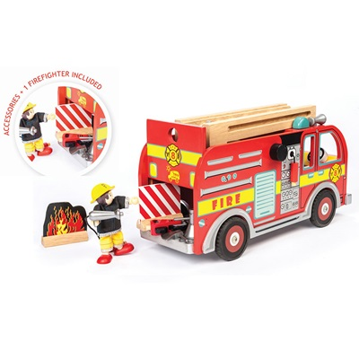 Le Toy Van Budkins Wooden Fire Engine Set with Fireman