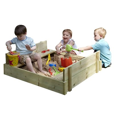 TP TOYS CHILDREN'S WOODEN LIDDED SANDPIT