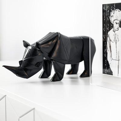 HAND CARVED WOODEN SCULPTURE Rhino Design