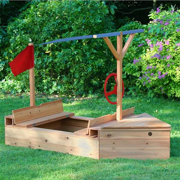 Wooden Garden Sailer Sand Pit by Garden Games