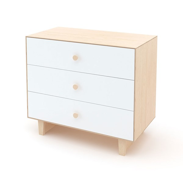 Oeuf Rhea 3 Drawer Dresser in White and Birch
