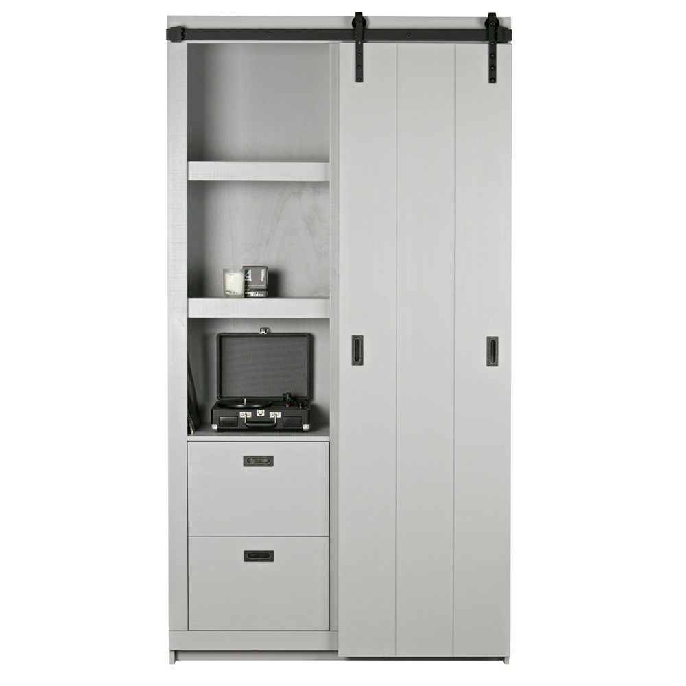 Rustic Pine Kitchen Cabinets: Rustic Pine Cabinet With Sliding Doors In Grey