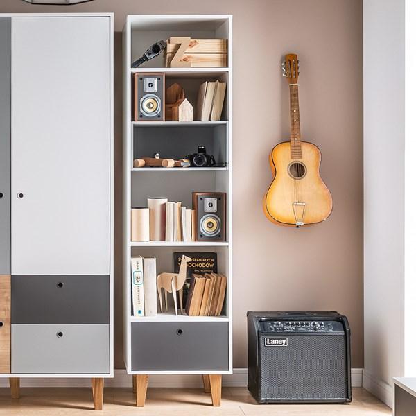 Concept Narrow Bookcase in White & Grey