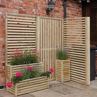 Rowlinson vertical slat garden screens garden tools and for Horizontal garden screening