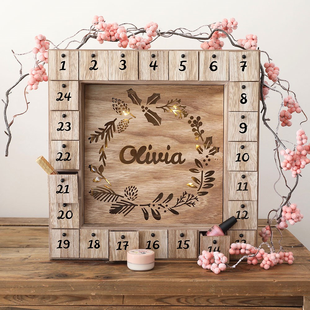Personalised Wooden Wreath Advent Calendar Amp Light Box