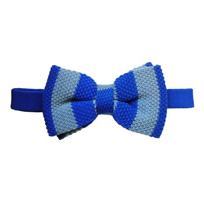 KNITTED BOW TIE in Blue and Light Blue Stripe Design