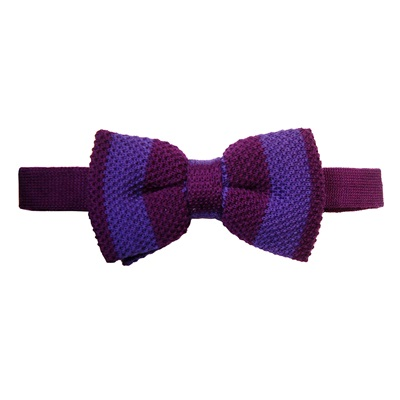 KNITTED BOW TIE in Purple and Light Purple Stripe Design