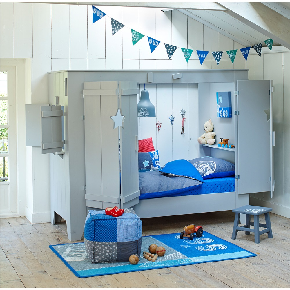 kids cupboard style cabin bed in grey with folding doors cuckooland. Black Bedroom Furniture Sets. Home Design Ideas