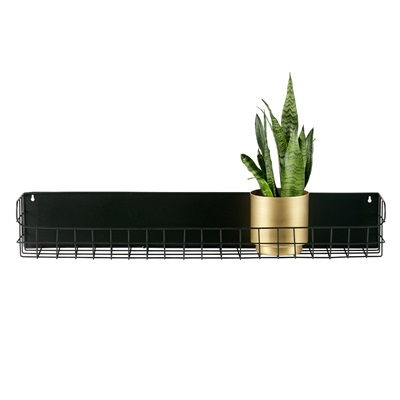 Lucie Black Metal Wall Shelf by Woood