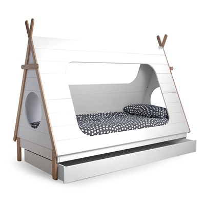 Teepee Cabin Bed Trundle Drawer Woood Cuckooland