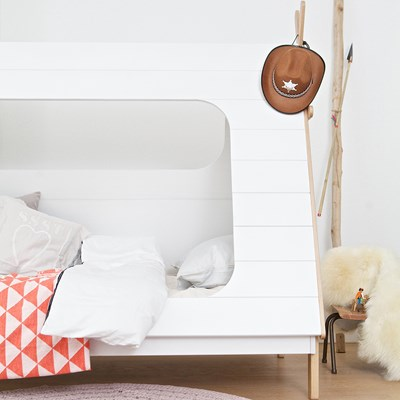 ... Woood-Tipi-Bed-Cuckooland-Lifestyle-for-web.jpg ... & Kids Teepee Cabin Bed in White Solid Pine - Cabin Beds | Cuckooland