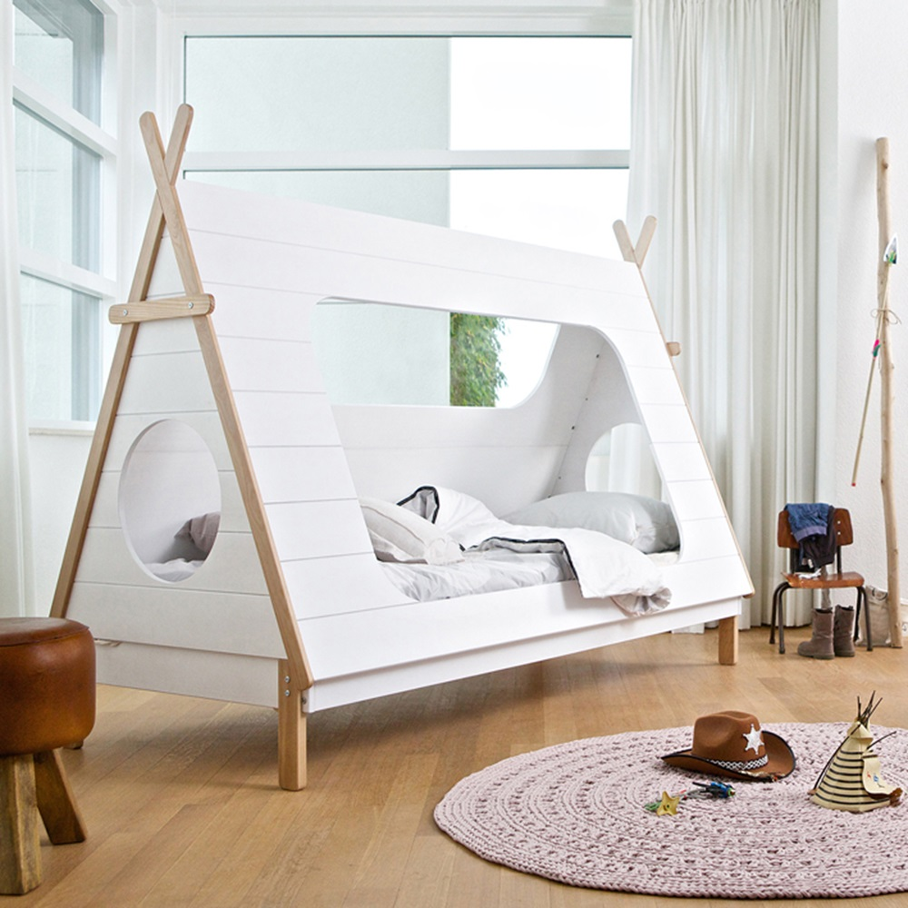 kids teepee cabin bed in white solid pine cabin beds. Black Bedroom Furniture Sets. Home Design Ideas
