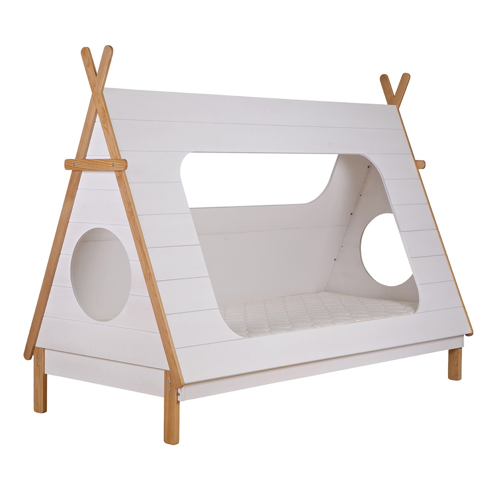 kids teepee cabin bed in white solid pine cabin beds cuckooland. Black Bedroom Furniture Sets. Home Design Ideas