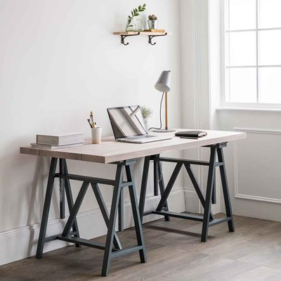 GARDEN TRADING WORKSHOP TRESTLE DESK in Charcoal