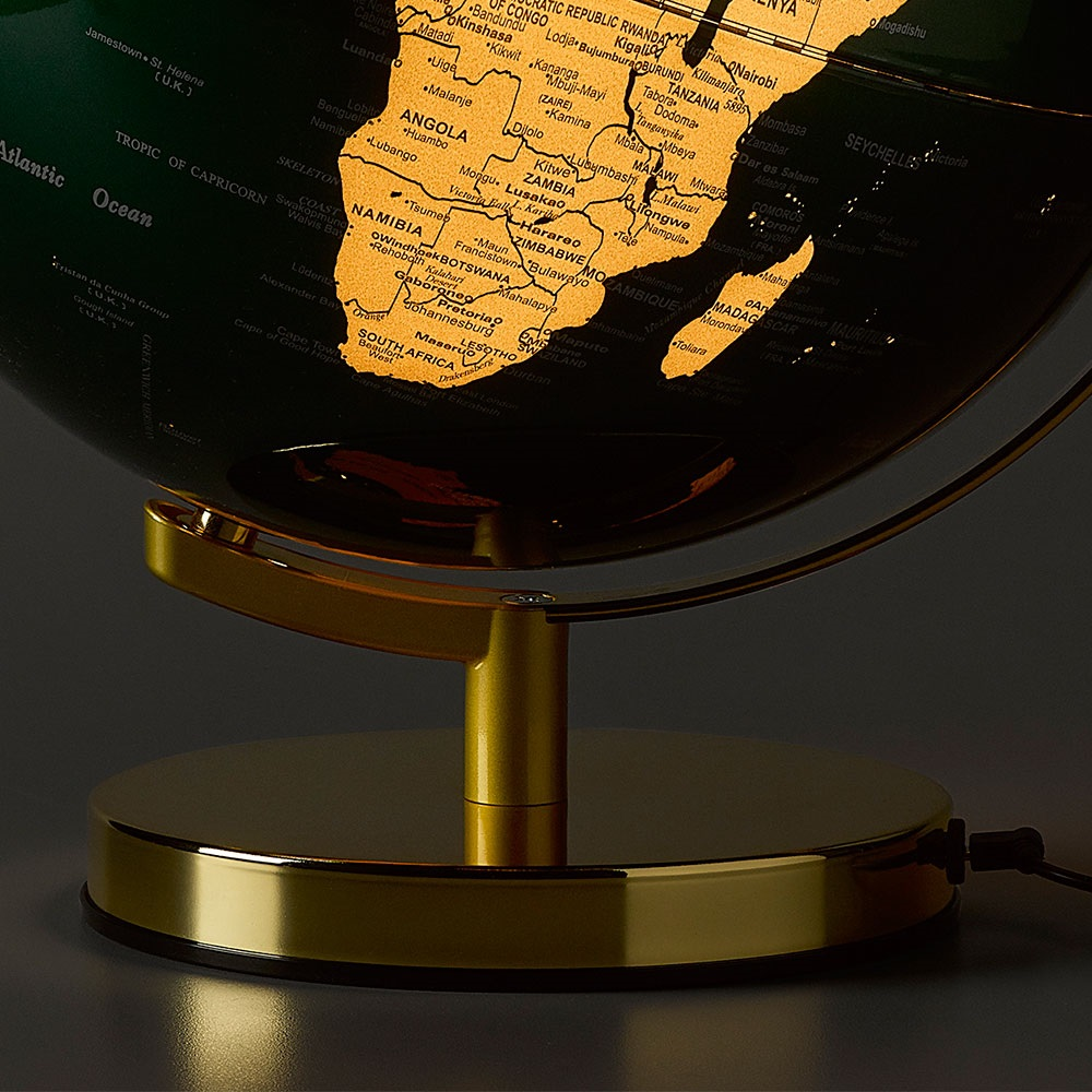 Wild wolf light up 12 globe in fir green and brass wild and world map globe light with shiny brass stand gumiabroncs Images