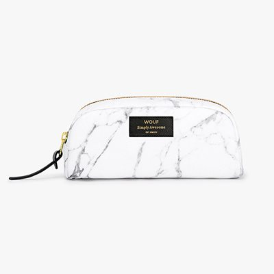 WOUF WHITE MARBLE SMALL BEAUTY MAKEUP BAG