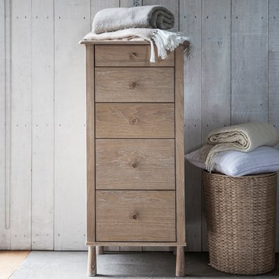 WYCOMBE OAK TALL CHEST OF DRAWERS by Frank Hudson