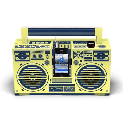 BERLIN BOOMBOX DIY CARDBOARD SMARTPHONE SPEAKER in Lemon