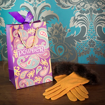 TALLULAH Ladies Designer Wool Gloves in Mustard and Mink