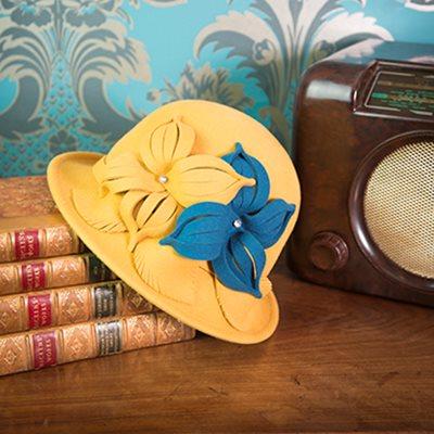 ROMA Pure Wool Designer Women's Hat in Teal & Mustard