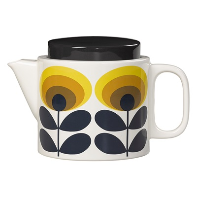 ORLA KIELY CERAMIC TEAPOT in 70s Oval Flower Yellow Print