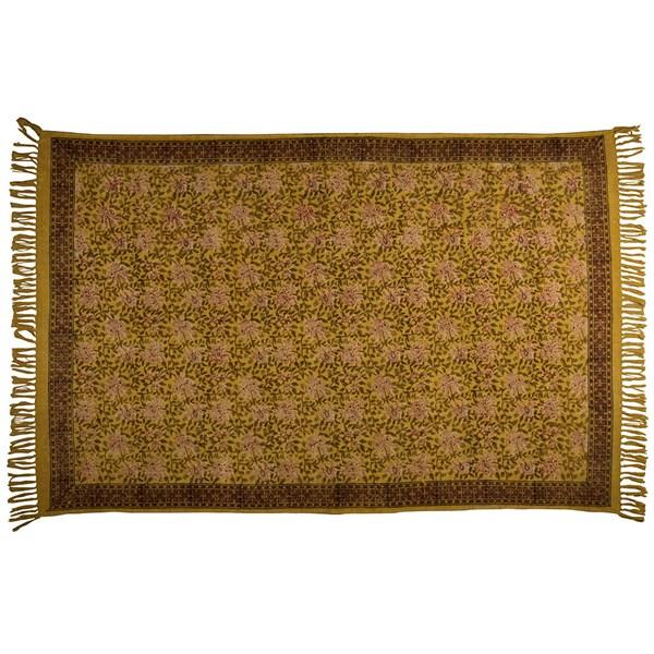 Dutchbone Indian Block Printed Rug in Yellow