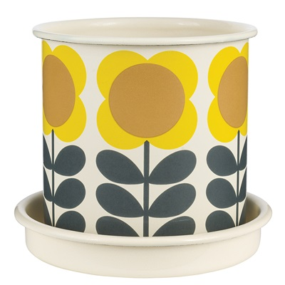 ORLA KIELY Medium Plant Pot in Yellow