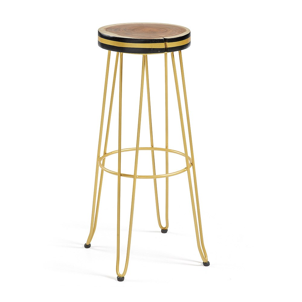 Groovy Farley Round Teak Bar Stool In Gold Machost Co Dining Chair Design Ideas Machostcouk