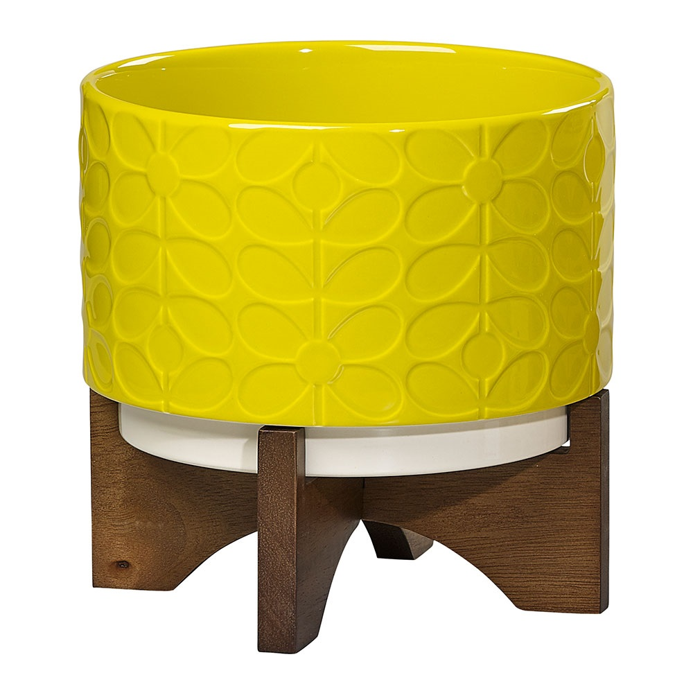 Orla Kiely Ceramic Plant Pot With Wooden Stand In 60s Stem Dandelion Yellow Cuckooland