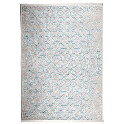 ZUIVER YENGA GEOMETRIC WOVEN FLOOR RUG in Blue