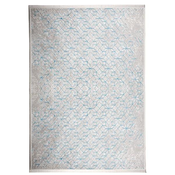 Yenga Geometric Woven Floor Rug in Blue