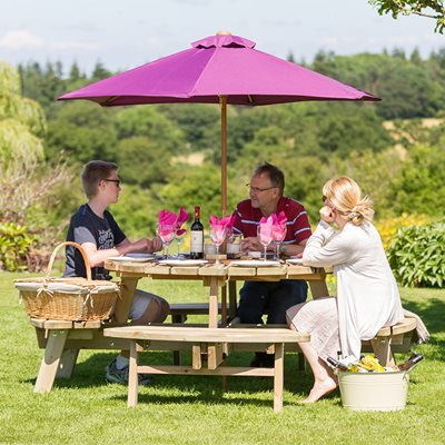 Zest 4 Leisure Wooden Rose Round Garden Picnic Table