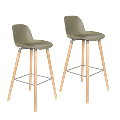 ZUIVER PAIR OF ALBERT KUIP RETRO MOULDED BAR STOOLS in Olive Green