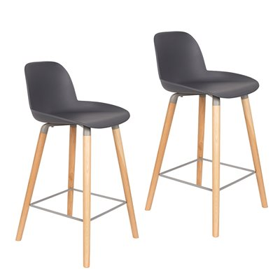 Zuiver Pair of Albert Kuip Retro Moulded Counter Stools in Dark Grey