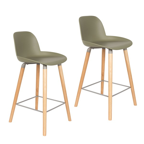 Zuiver Pair of Albert Kuip Retro Moulded Counter Stools in Olive Green