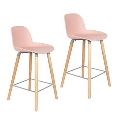 Zuiver Pair of Albert Kuip Retro Moulded Counter Stools in Powder Pink