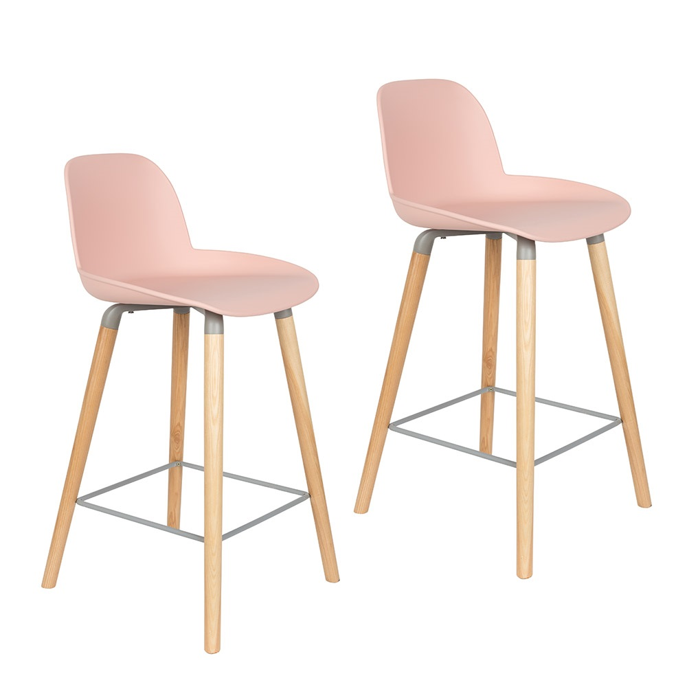 Zuiver Pair Of Albert Kuip Retro Moulded Counter Stools In
