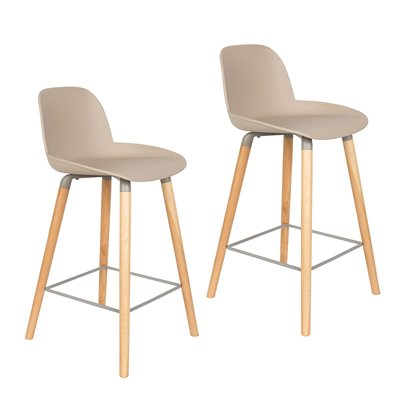 Zuiver Pair of Albert Kuip Retro Moulded Counter Stools in Taupe