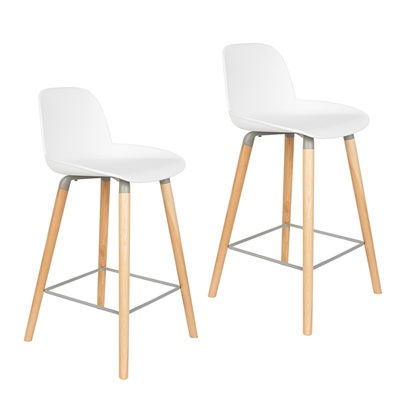 ZUIVER PAIR OF ALBERT KUIP RETRO MOULDED COUNTER STOOLS in White