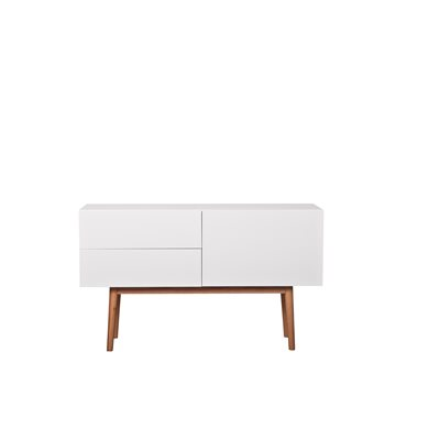 SCANDINAVIAN 2 DRAWER & 1 DOOR SIDEBOARD in White & Oak
