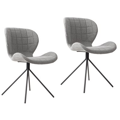 ZUIVER PAIR OF OMG UPHOLSTERED DINING CHAIRS in Light Grey